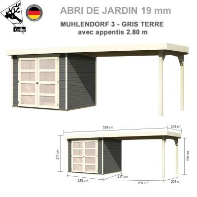 Abri bois Mulhendorf 3 gris terre + extension 2.80 m