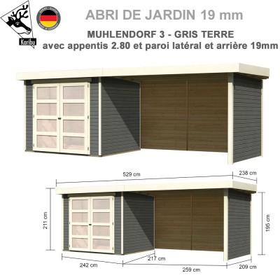 Abri bois Mulhendorf 3 + extension  2.80 m + panneaux
