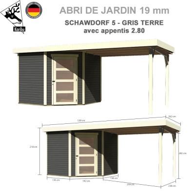 Abri bois Schwandorf 5 gris terre - 242x246 + extension 2.80 m