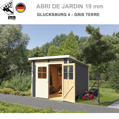 Abri de Jardin bois Glucksburg 4 gris terre - 19 mm
