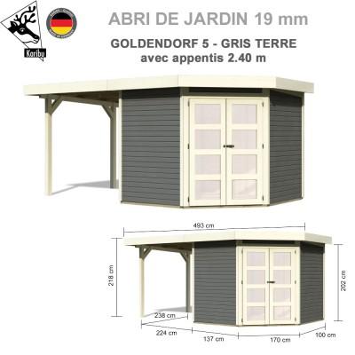 Abri bois Goldendorf 5 gris terre + extension 2.40 m