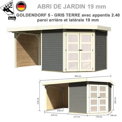 Abri Goldendorf 5 gris terre + extension 2.40 m + panneaux