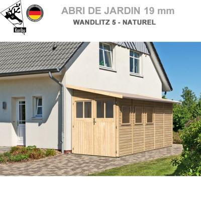 Abri adossable bois Wandiltz 5 naturel - 181x442