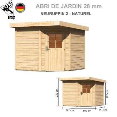 Abri bois Neuruppin 2 naturel - 244x244