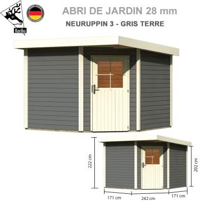 Abri bois Neuruppin 3 gris terre - 274x274