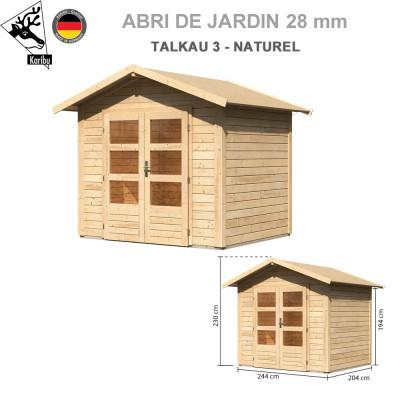 Abri bois Talkau 3 Naturel - 244x204