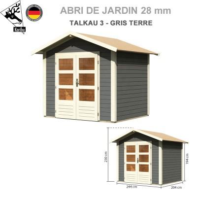 Abri bois Talkau 3 Gris terre - 244x204