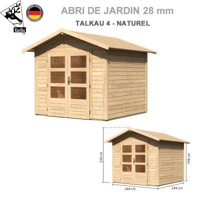 Abri bois Talkau 4 Naturel - 244x244