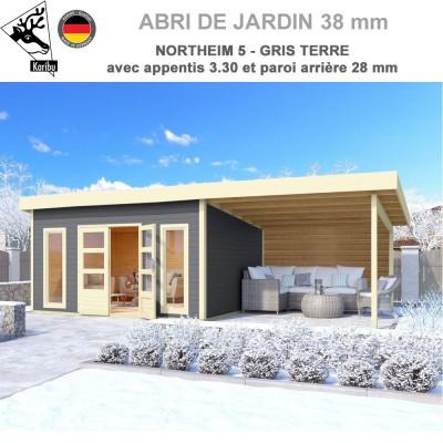 Abri bois Northeim 5 Naturel - 369x369 avec appentis 3 m