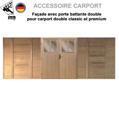 Façade avec porte double pour carport classic - premium 2 places