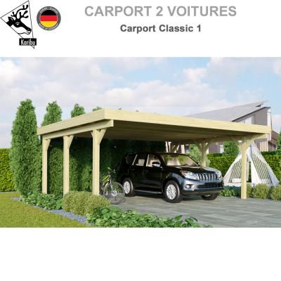 Carport bois 2 voitures Classic 1 - Toit PVC