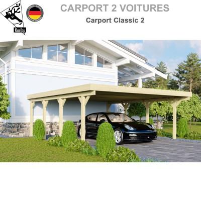 Carport bois 2 voitures Classic 2 - Toit PVC