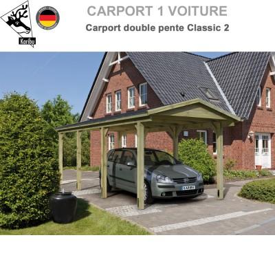 Carport bois 1 voiture Classic 2 - Toit double pente