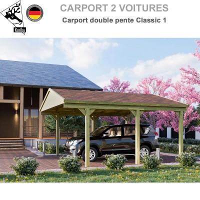 Carport bois 2 voitures Classic 1 - Toit double pente
