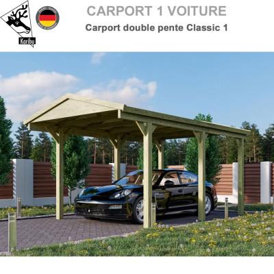 Carport bois 1 voiture Classic 1 - Toit double pente