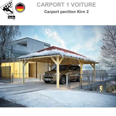 Carport pavillon bois 1 voiture Kirn 2