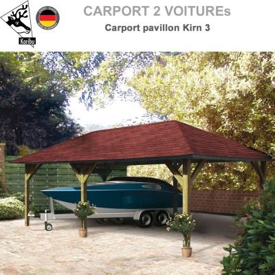 Carport pavillon bois 2 voitures Kirn 3
