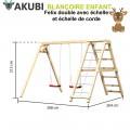 Balançoire bois double avec échelle 2 Felix