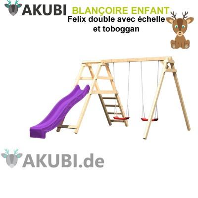 Balançoire bois double avec échelle tobogan Felix