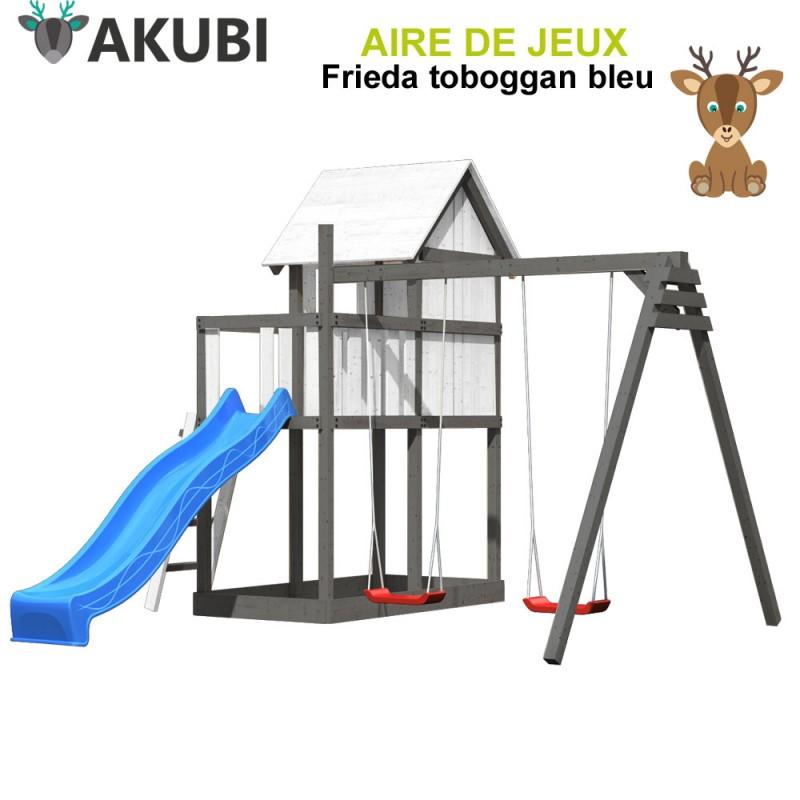 Aire de jeux bois enfant Frieda bleu