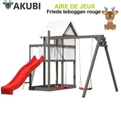 Aire de jeux bois enfant Frieda rouge