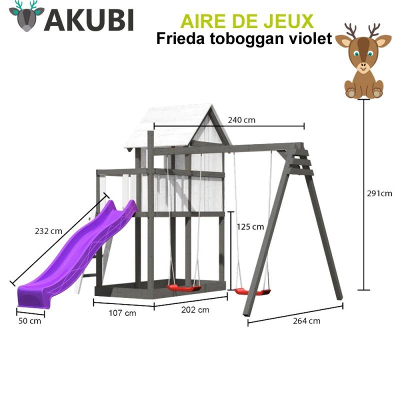 Aire de jeux bois enfant Frieda violet