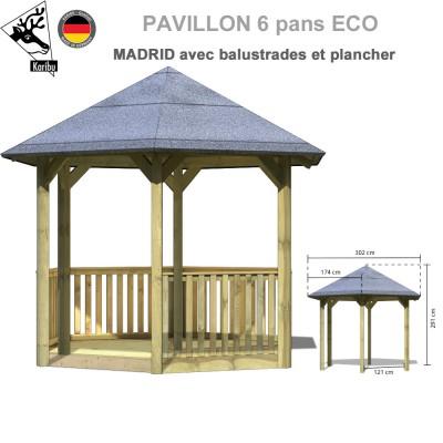 Pavillon de jardin bois Madrid + plancher + balustrades