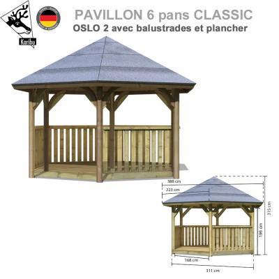 Kiosque de jardin bois Oslo 2 + balustrades + plancher