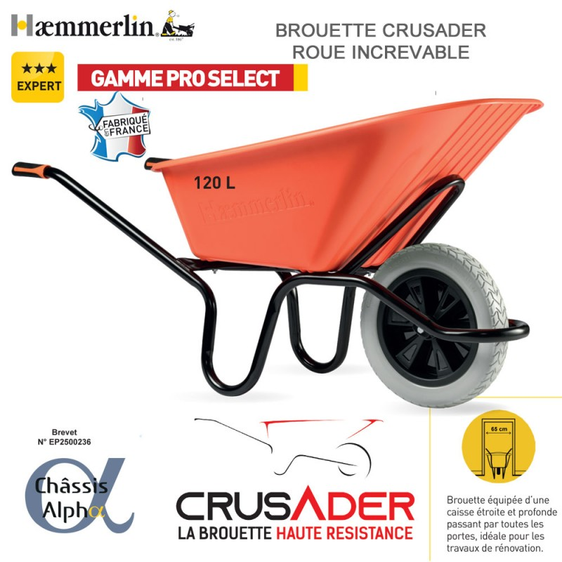 Brouette Crusader 120 orange - Roue increvable