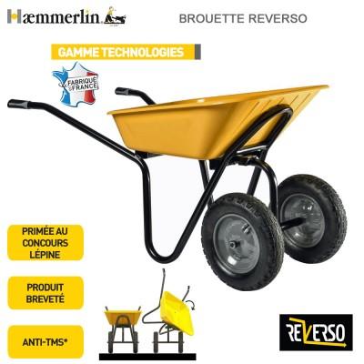 Brouette Reverso 100 jaune - Roues gonflées