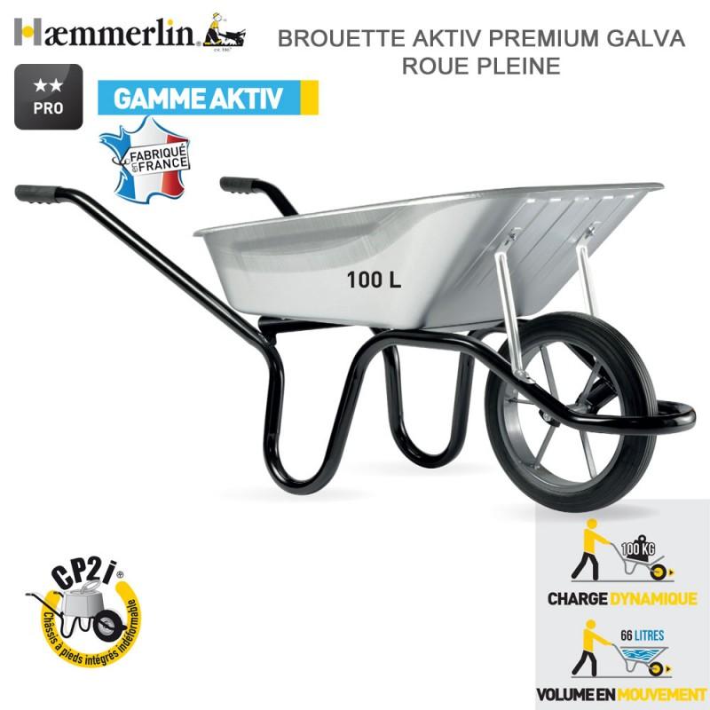 Brouette Aktiv Premium 100L Galva - Roue pleine