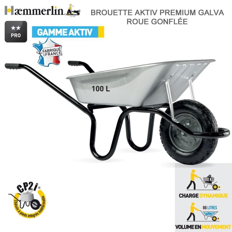 Brouette Aktiv Premium 100 l Galva - Roue gonflée