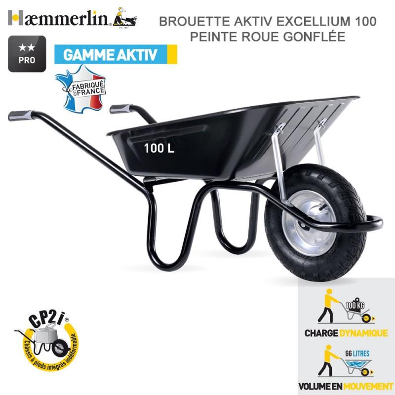 Brouette Aktiv Excellium 100 noire - Roue gonflée