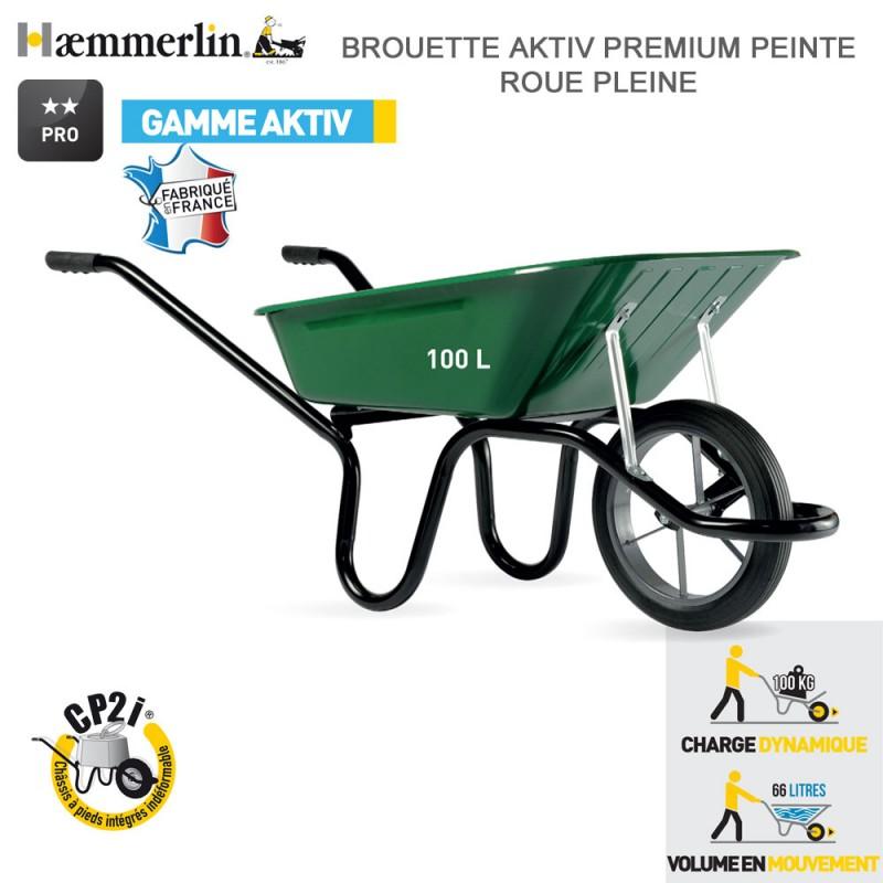 rouette Aktiv Premium Verte 100 l - Roue pleine