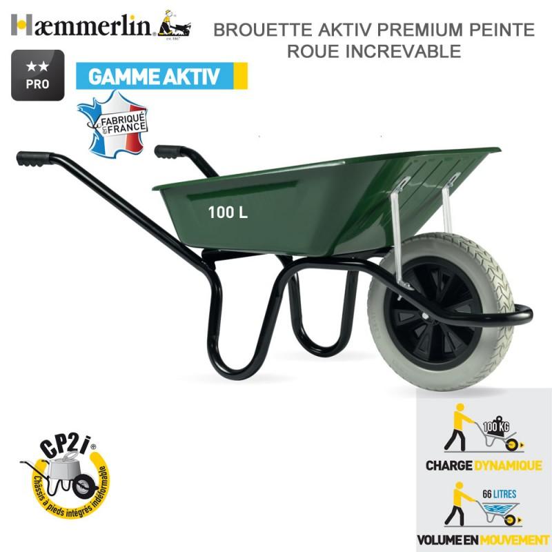Brouette Aktiv Premium Verte 100 l - Roue increvable