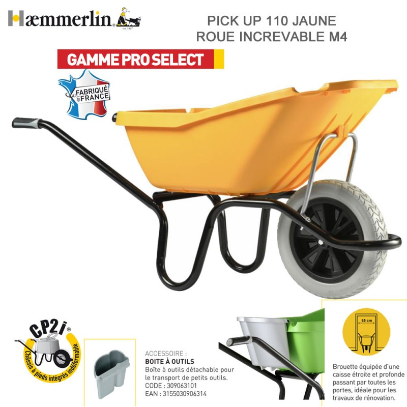 Brouette Pick Up 110 jaune - Roue increvable