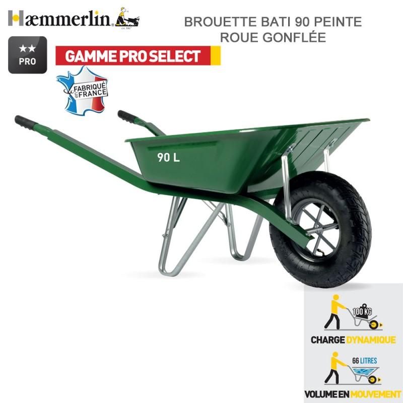 Brouette Bati Pro 90 Verte - Roue gonflée