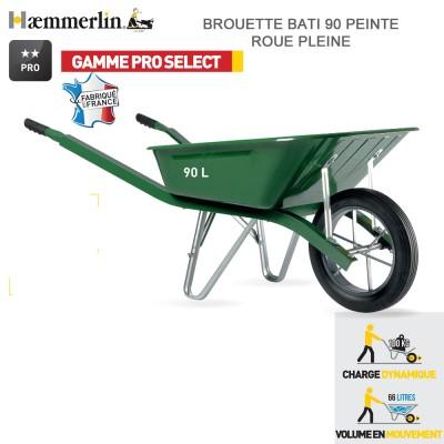 Brouette Bati Pro 90 Verte  - Roue pleine