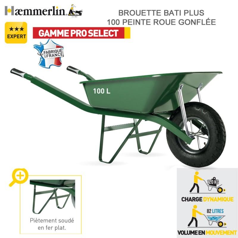 rouette Bati Plus 100 Verte - Roue gonflée