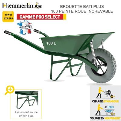 Brouette Bati Plus 100 Verte  - Roue increvable
