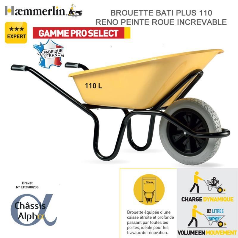 Brouette Bati Plus 110 Reno jaune - Roue increvable