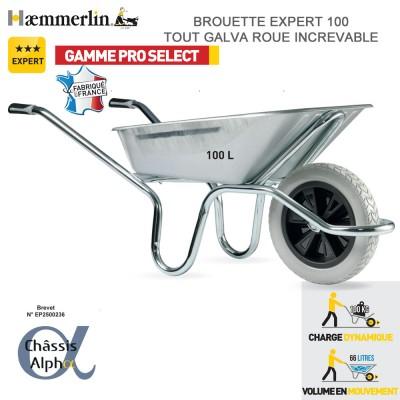 Brouette Expert 100 Alpha Galva - Roue increvable