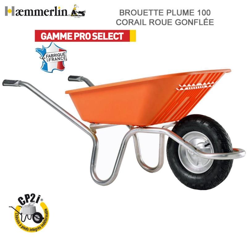 Brouette Plume 100 Corail - Roue gonflée