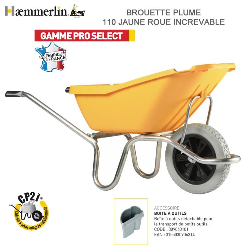 Brouette Plume 110 Jaune - Roue Increvable