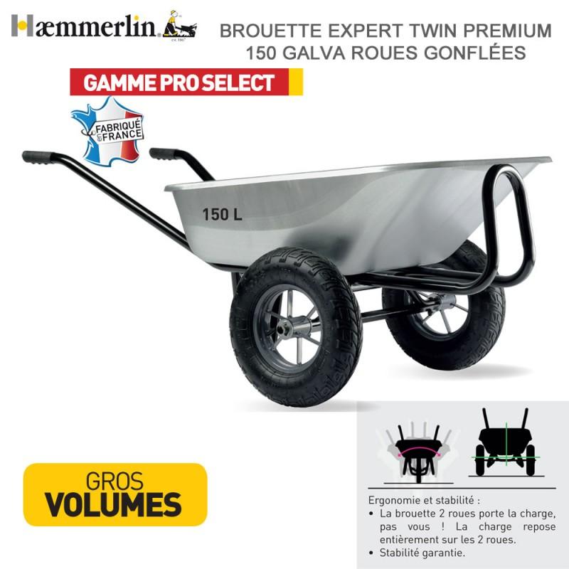 Brouette Expert Twin Premium 150 Galva - Roues gonflées