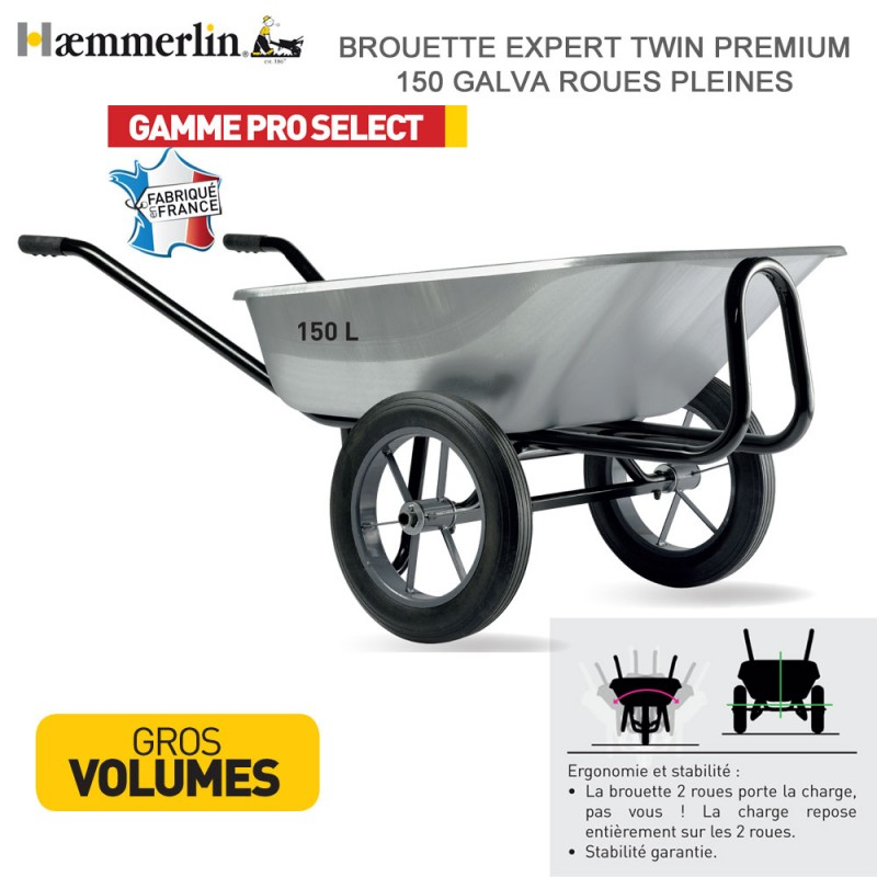 Brouette Expert Twin Premium 150 Galva - Roues pleines
