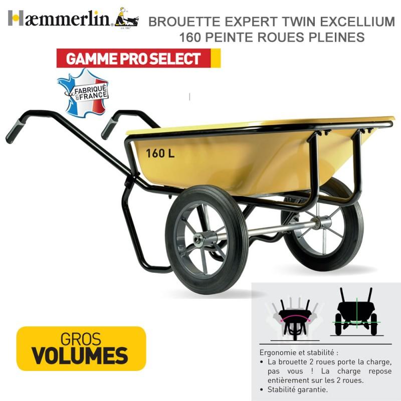 Brouette Expert Twin Excellium 160 jaune - Roues pleines