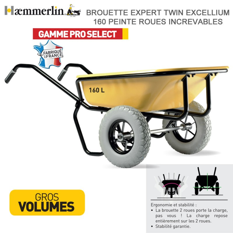 Brouette Expert Twin Excellium 160 jaune - Roues increvables
