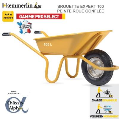 Brouette Expert Alpha 100 jaune - Roues gonflées