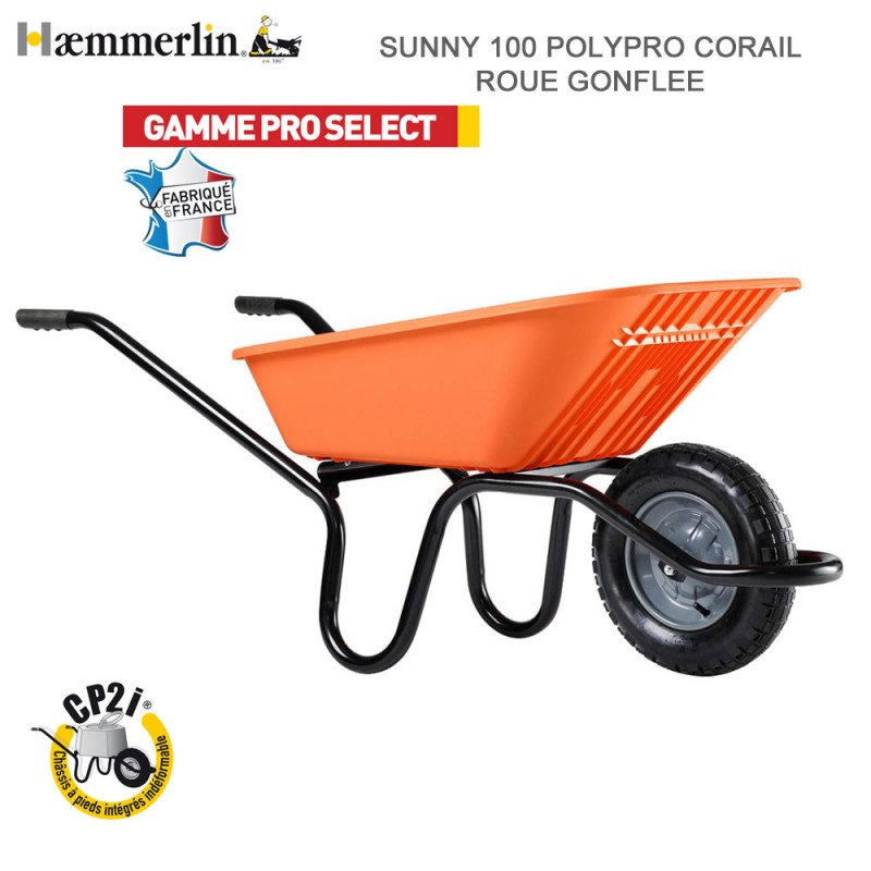Brouette Sunny 100 Polypro Corail - Roue gonflée